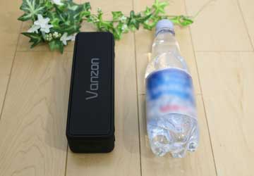vanzon バンゾン Bluetoothスピーカー x5 pro とペットボトルの比較