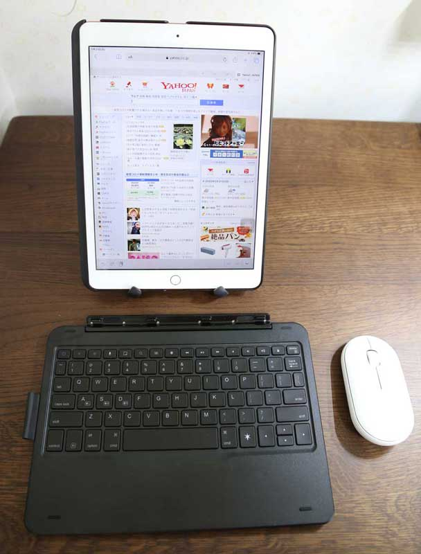 iPad 10.2のおしゃれなキーボード ケース第7世代2019モデル Bluetoothキーボードカバーワイヤレス 一体型脱着式スマート軽量ケースキーボード iPad 10.2/iPad Air3/Pro 10.5(2017)兼用キーボードから外して縦置きでブラウジング ASIN:B0823MHSH9